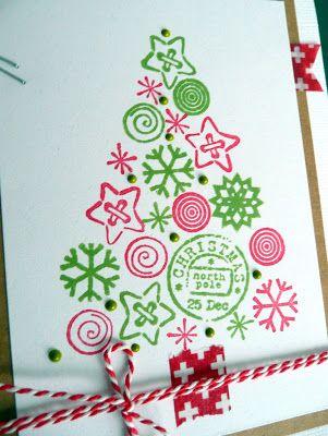 ideetjes voor kerstkaarten met stempels