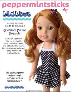 Wild Waves One-Piece Skirted Swimsuit for WellieWishers Dolls