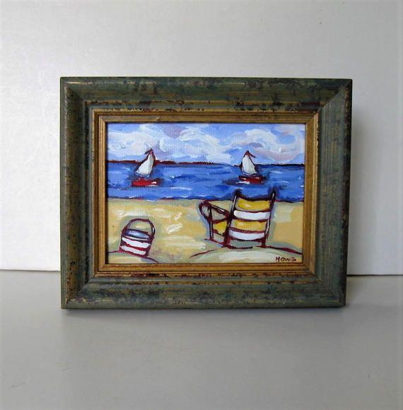 "Original framed acrylic beach painting, 9 3/4"" x 7 3/4"", Shabby nautical decor, Sailboat, art canvas, Impressionist wall art, gift idea"