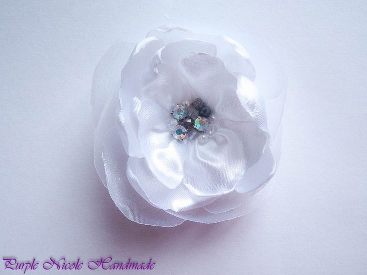 Rita - Handmade Bridal Flower by Purple Nicole (Nicole Cea Mov). Materials: Satin, pearls, crystals, rhinestone.