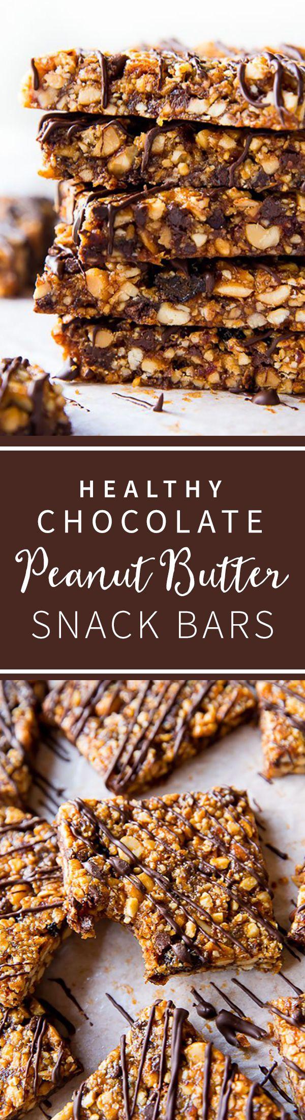 Healthy gluten free peanut butter chocolate bars aka copycat KIND bars! Recipe on sallysbakingaddiction.com