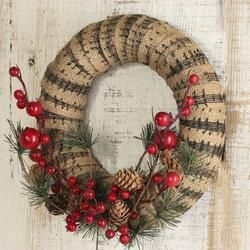 Rustic Artificial Pine and Musical Burlap Wreath - Wreaths - Floral Supplies - Craft Supplies