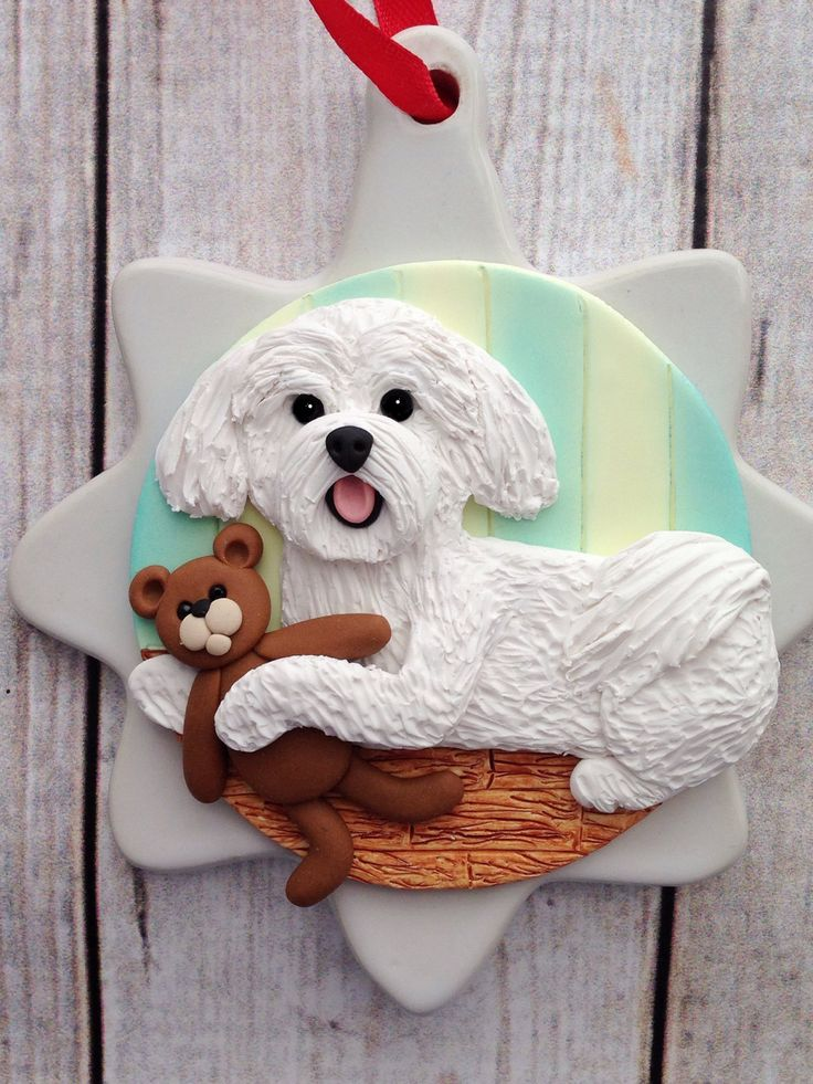 A sweet little Maltese ornament in my Etsy shop https://www.etsy.com/listing/468677410/maltese-ornament-handsculpted-clay