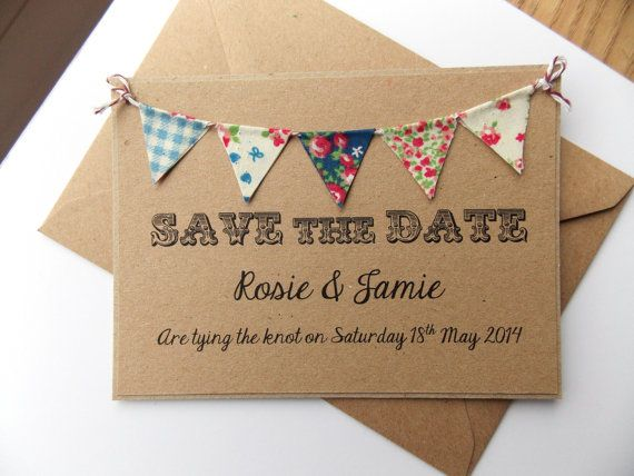 Save The Date Fabric Bunting Wedding Invitation, Country Fete Rustic Summer Wedding Kraft Card on Etsy, $2.79