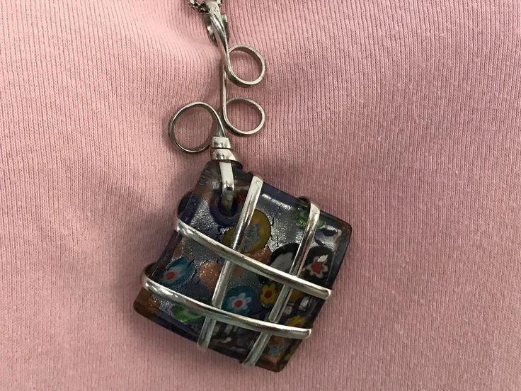 Milifiori Glass Square Silver Foil Colorful Floral Blue glass 22 inch chain #Unbranded #Pendant