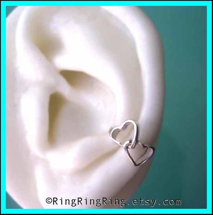 2 Double heart ear cuffs, 925 Solid sterling silver ear cuff earring jewelry, Right & Left earcuffs. $50.00, via Etsy.