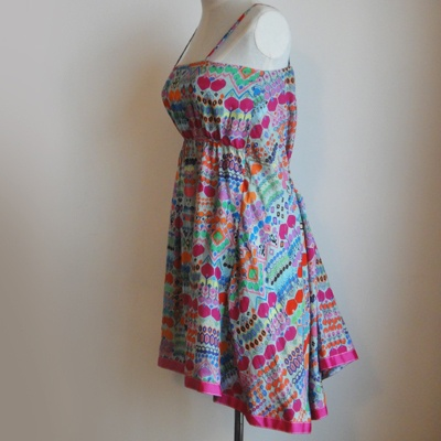 A sleeveless printed cotton silk dress with a slip