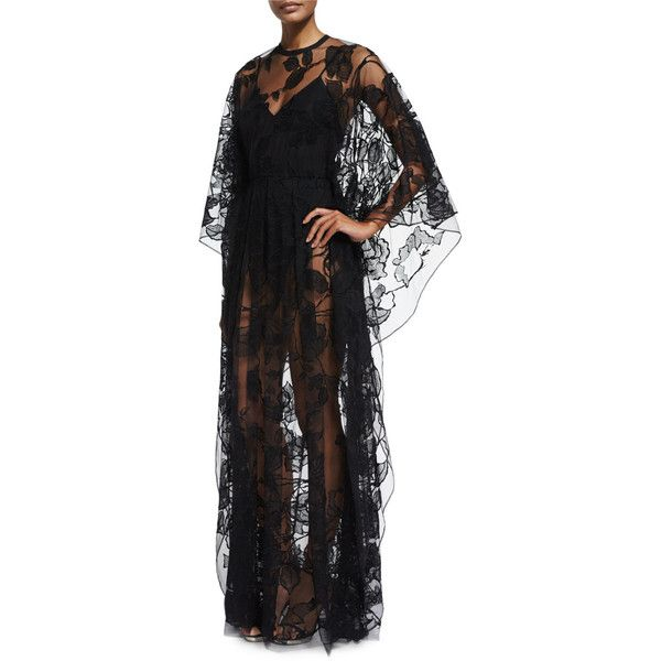 Elie Saab Sheer Floral-Lace Long-Sleeve Gown ($8,845) ❤ liked on Polyvore featuring dresses, gowns, black, long sleeve gowns, long sleeve lace dress, see through dress, floral gown and floral dresses