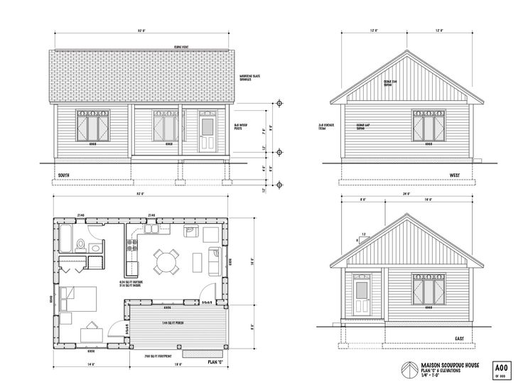 One room house layout the maison scoudouc house plan c is designed as a small 624 sq ft Small cabin plans free