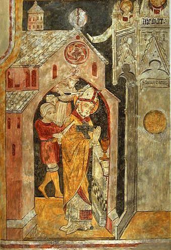 Martyre de saint Thomas Becket. Fresque.  Eglise Saint-Vincent de Saint-Flour. Auvergne. XIVe.
