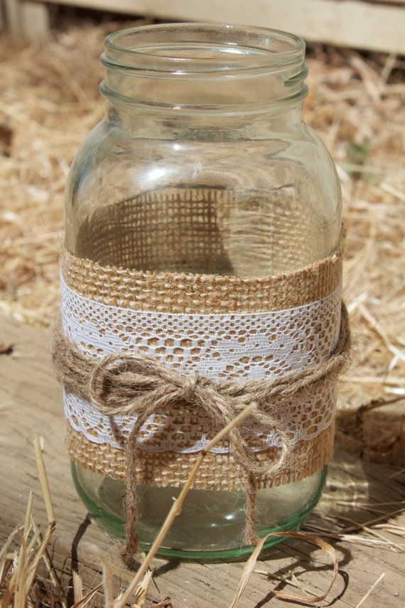 Lace u0026 Burlap Mason Jar Candle Holder