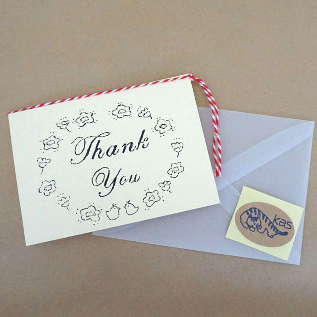 ハンドメイドマーケット minne(ミンネ)| ガリ版印刷グリーティングカード「Thank You」(クリーム)