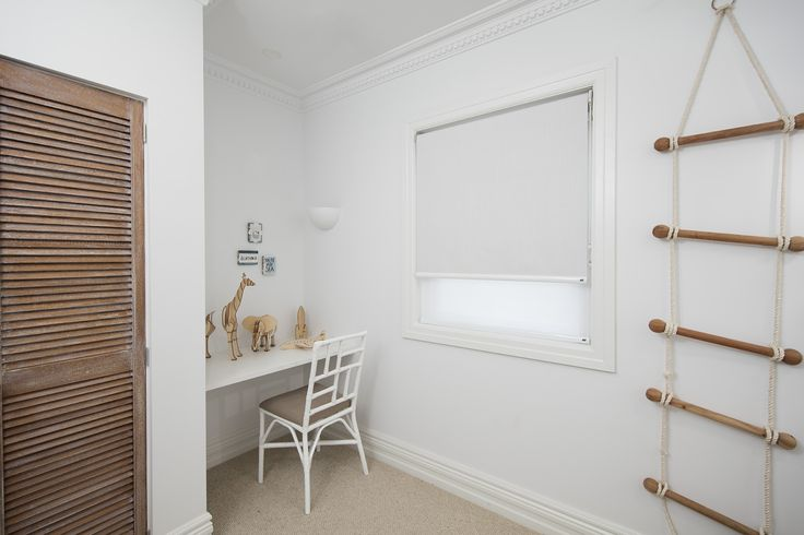 Dual Roller Blinds. Standard Chain operation. FRONT ROLLER - Fabric Range: Ethos. Colour: Aura. Opacity: Blockout. BACK ROLLER - Fabric Range: Tempus. Colour: Frost. Opacity: Sheer.