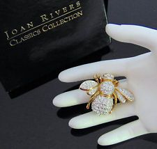 Новые Джоан Риверс кристалл 21st века пчелиная матка брошь золото lg двойной крыло