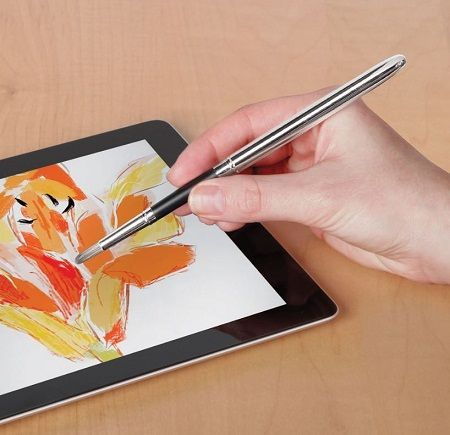 The iPad Paintbrush brings some artistic flare to digital painting - This may look like a common paintbrush, but each fiber of synthetic hair at the tip of the brush has conductive properties. The other end of the brush is a stylus so that you don't need to have two separate tools for the same device. | Coolest Gadgets