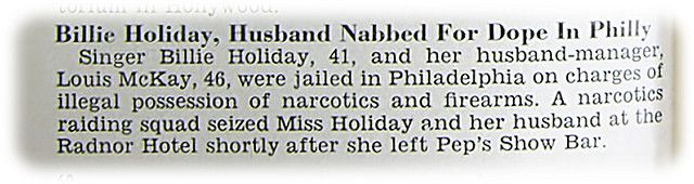Billie Holiday Husband   Billie Holiday and Husband Louis McKay Nabbed for Dope in Philadelphia ...