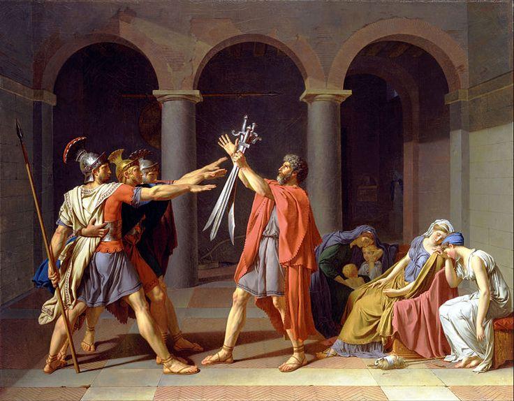 Juramento de los Horacios AutorJacques-Louis David, 1784 TécnicaÓleo sobre lienzo EstiloNeoclasicismo Tamaño330 cm × 425 cm LocalizaciónMuseo del Louvre, París, Francia. En él se representa el saludo romano, con el brazo extendido y la palma hacia abajo.