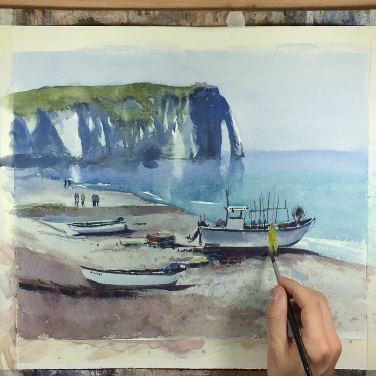 Watercolor Beach Scene Painting Demonstration