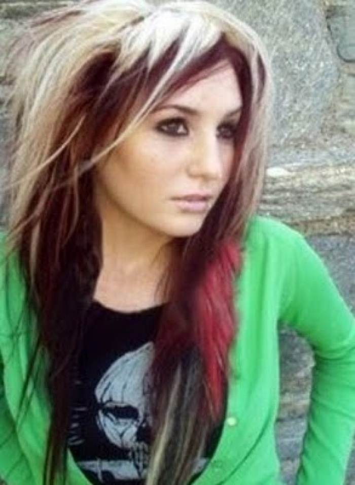 Dark hair with red underneath