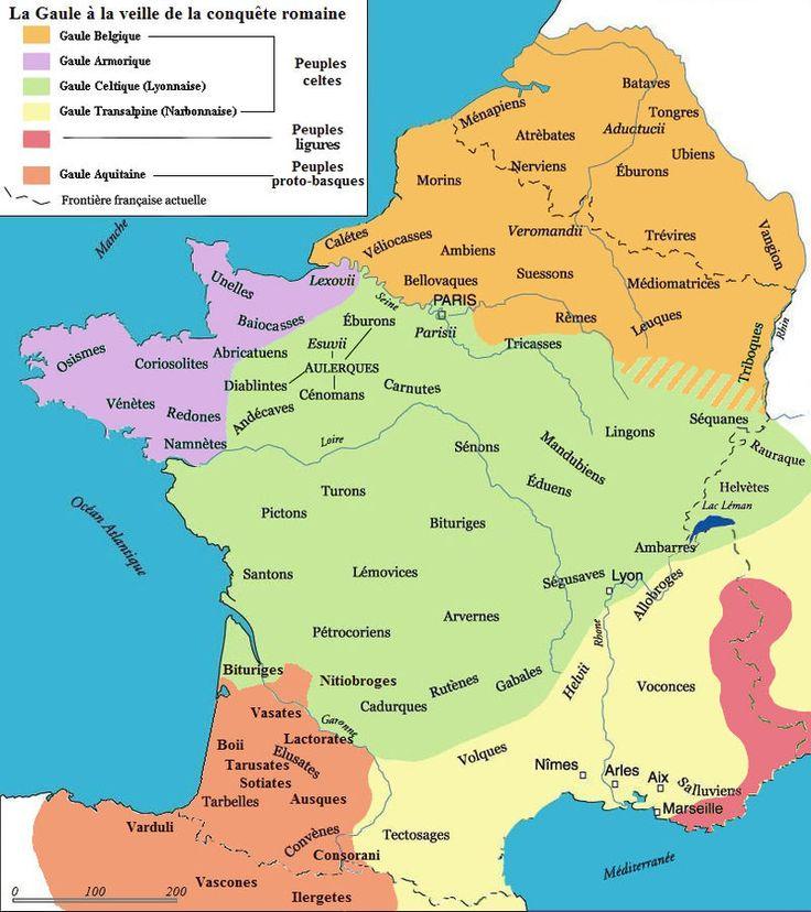 carte de la gaule et de ses regions 58 av JC