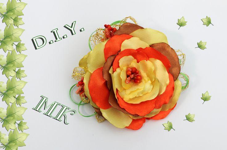 ОСЕННИЙ ЦВЕТОК  из лент МК  . DIY Autumn flower ribbons
