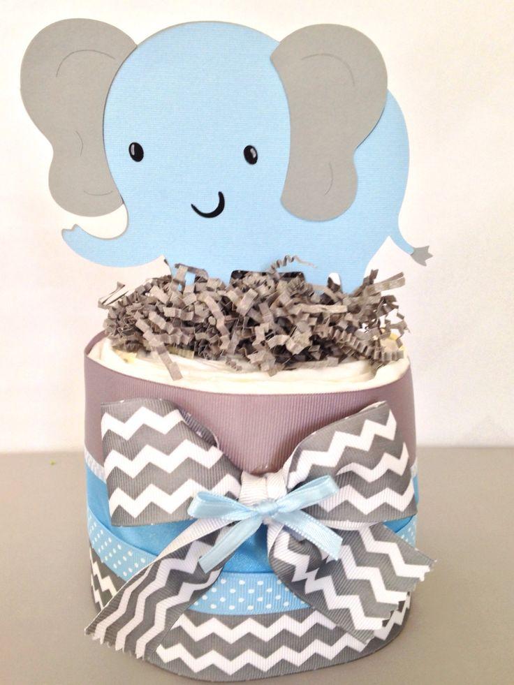 Mini Elephant Baby Shower Diaper Cake, Blue and Gray Elephant Baby Shower Centerpiece by AllDiaperCakes on Etsy