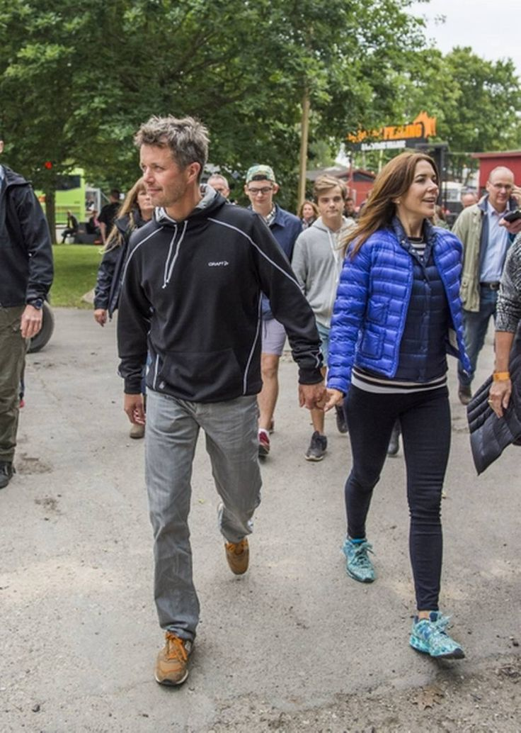 Their Royal Highnesses Crown Prince Frederik and Crown Princess May: - Talking about being a popular and down to earth The Crown Prince couple!  Frederik and Mary just arrived by coach - holding hands - at Roskilde Festival July 3 2014