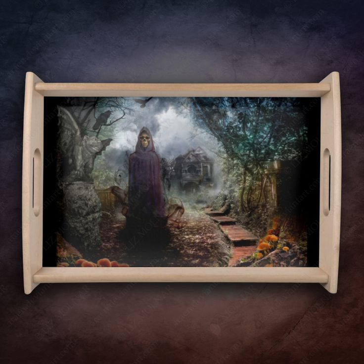 Creepy Haunted House and its Ghost Owner - #Macabre Service Tray for #Halloween