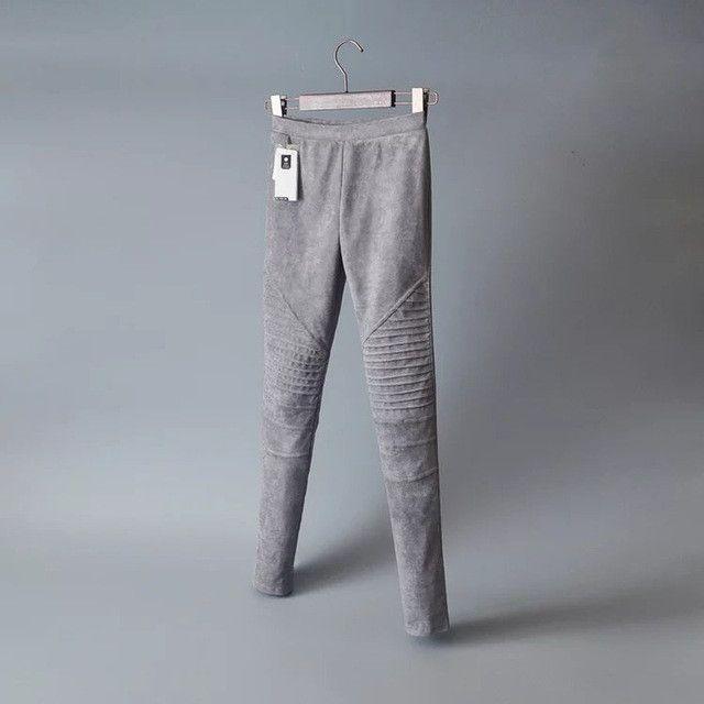 KM5 New Fashion 2016 Women Faux Suede Leggings Pleated Elastic Waist Trouser Pants Cozy Casual Warm Brand Fitness Feminina