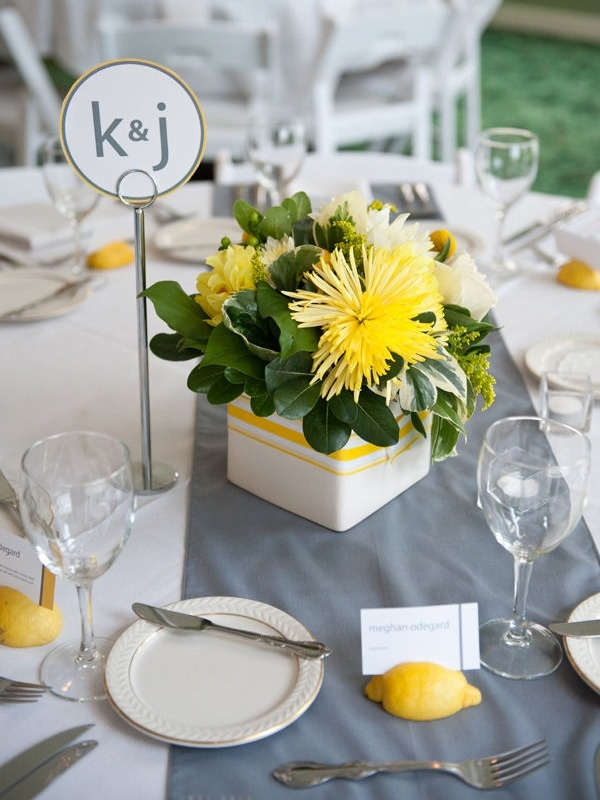 Menasha Wedding by Emily Steffen Photography. Yellow Flower CenterpiecesTable ... : centerpiece for table settings - pezcame.com