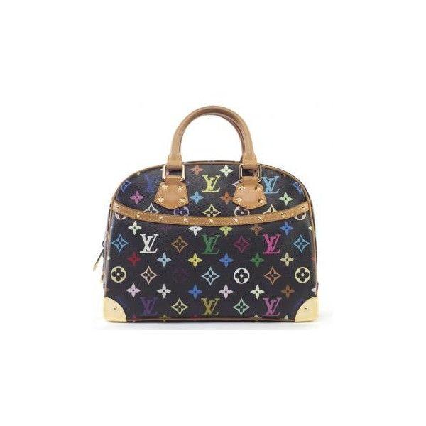 Louis Vuitton Monogram Multicolor Black Trouville Bag | MALLERIES ❤ liked on Polyvore featuring bags, louis vuitton, bolsas, borse, сумки, colorful bags, monogrammed bags, multi coloured bags and multicolor bag