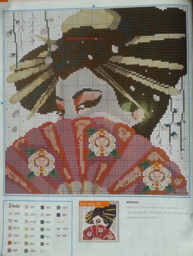 0 point de croix femme asiatique cachée derrière un éventail - cross stitch asian lady hidden behind a fan