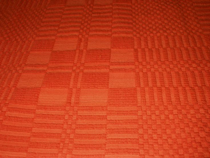 Vintage Orange Tablecloth Woven Mandingo Cotton Throw Bedspread Geometric Square Reversible Greek Handwoven Cotton 1950's - pinned by pin4etsy.com