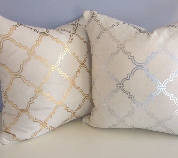 silver metallic quatrefoil pillow cover accent pillow throw pillow - Gold Decorative Pillows