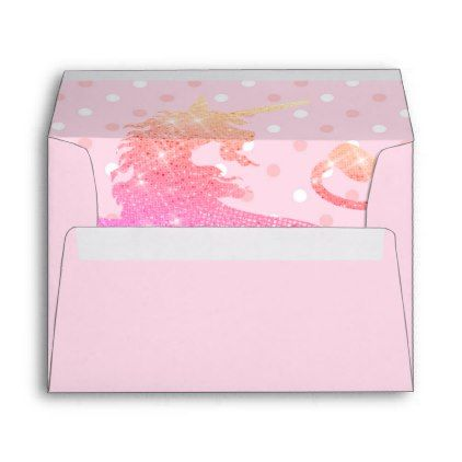Pink Unicorn Polka Dots Girly 5X7 Envelope - girly gift gifts ideas cyo diy special unique