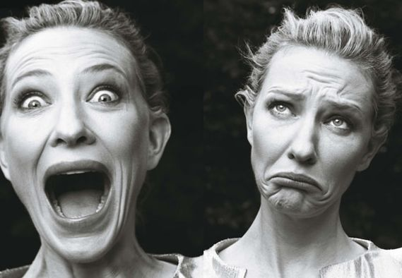 Cate Blanchett photographed by Annie Leibovitz - refreshing in a sea of 'come hither look' portraits.: Cate Blanchett, Mood Swings, The Faces, Annieleibovitz, Annie Leibovitz, Funny Faces, Cateblanchett, Actresses, True Beautiful