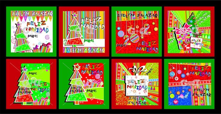 Tarjetas personalizadas para la temporada decembrina en papel glacé o papel autoadhesivo, tamaño 5×5 cms. Caja por 20 unidades minimo.