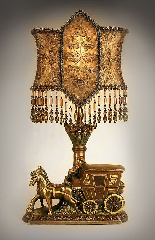 golden antique table lamp with victorian lamp shade - Lamp Shades For Table Lamps