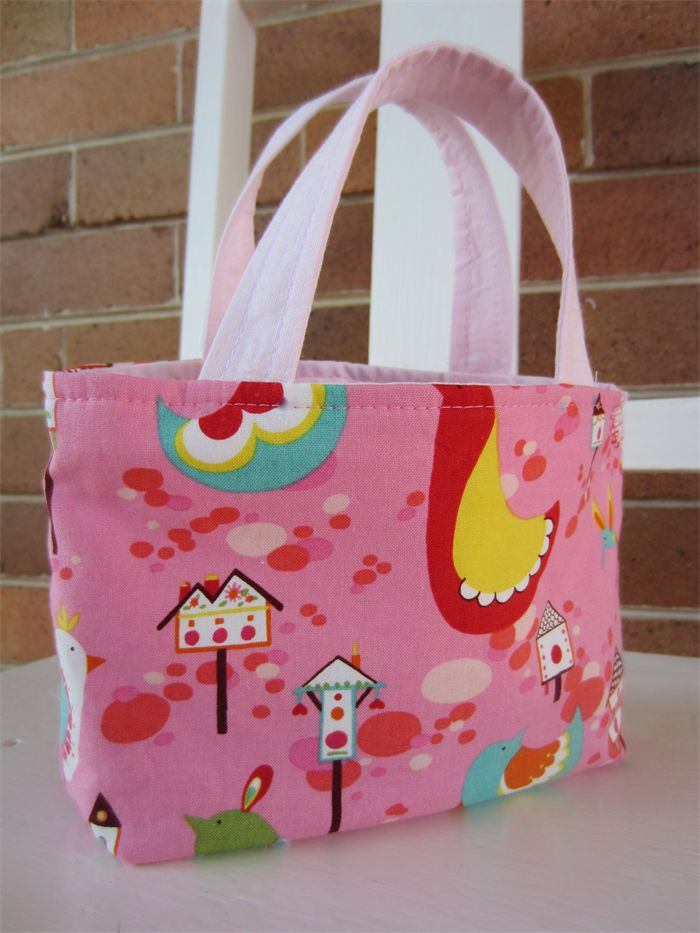 Girls small bag - Pink Birds and Birdhouses | by LittleStarrs | on Madeit.com.au |
