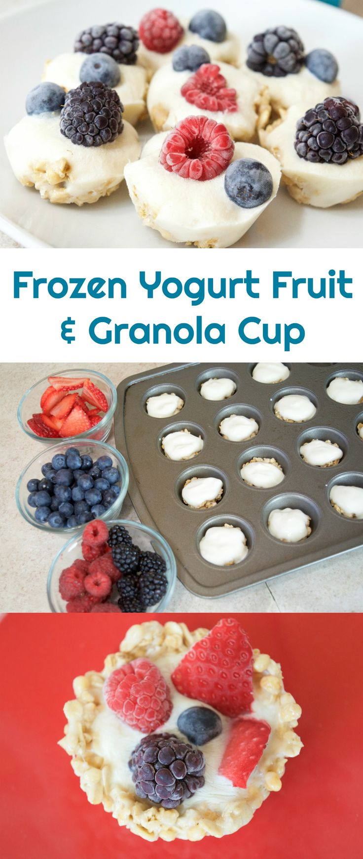 Healthy After School Snack idea! This Frozen Yogurt Fruit & Granola Cup only takes a few minutes to prep then freeze! Store it until you're ready to eat. These are DELICIOUS and a great healthy recipe for any diet! You can adjust the recipes as needed for keto friendly, gluten free, nut free or diabetic diet. She has bite sized yogurt fruit cups and regular sized options! #recipe #recipeideas #healthyrecipes #healthysnacks ad