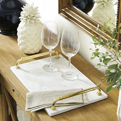 Brass Handle Marble Tray
