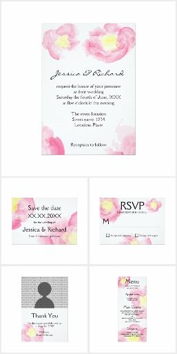 Pink And Yellow Watercolor Flowers Wedding Set #wedding #floral #watercolor #pink