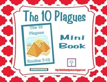 These mini books are a fun size for the kids and only one page to print! This 10 Plagues is only in color.  You will find a 10 Plagues song with flip chart visuals that the students loved (I did too!), ideas for displays for the plagues, visuals, printables & more @ Bible Fun For Kids
