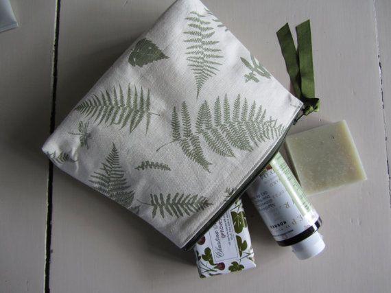 Bathroom or makeup bag Woodland Walk by FlaxandLoom on Etsy