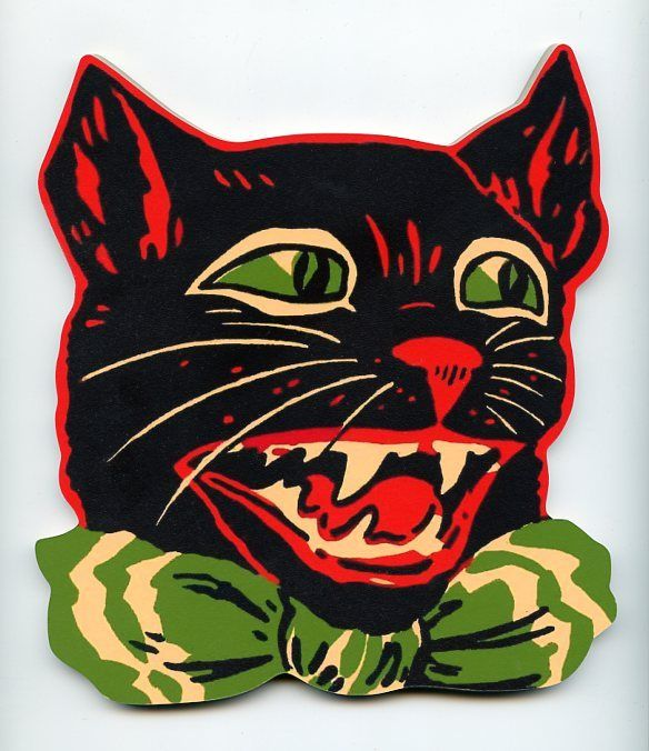 halloween black cat w fangs wood stand up plaque decor mounted on base vintage