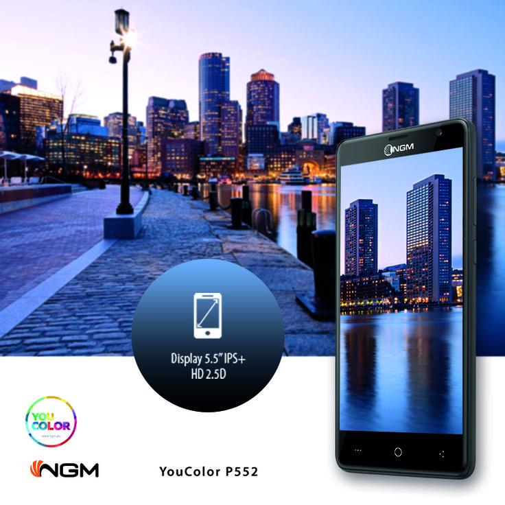 """#YouColor #P552 esalta le immagini grazie al suo #display Curved Glass da 5,5"""" con vetro temprato e tecnologia Real View Iridia HD.  Dedicato a coloro che amano i grandi spazi, il pensiero aperto e la libera espressione!  http://www.ngm.eu/prd/smartphones-it/you-color-p552/"""