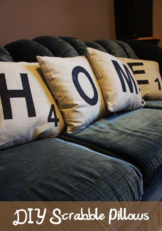 DIY Scrabble Tile Pillows - tutorial from DolledUpDesign