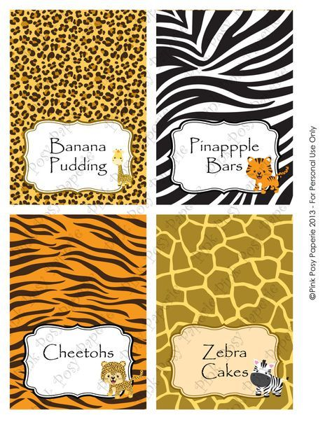 Safari para imprimir bebé ducha comida tarjetas de tienda