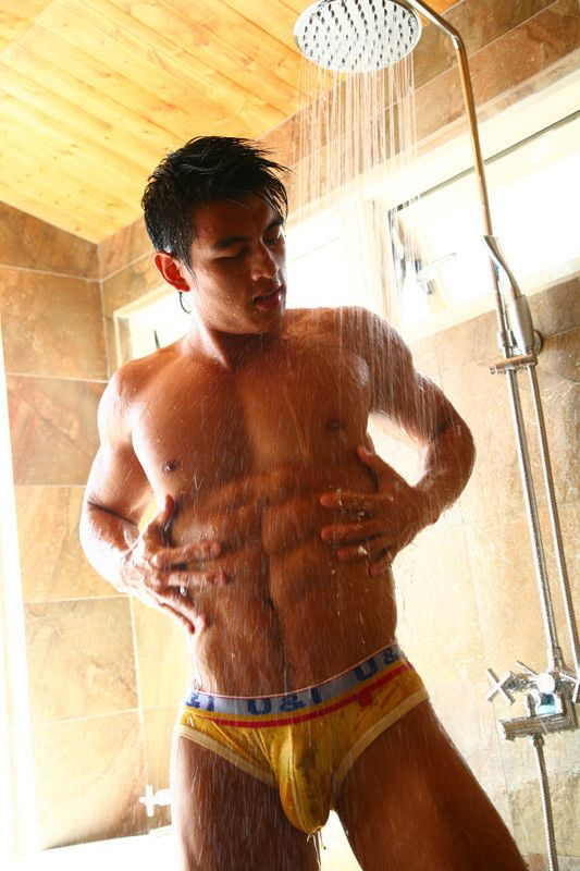 Gay asian in shower