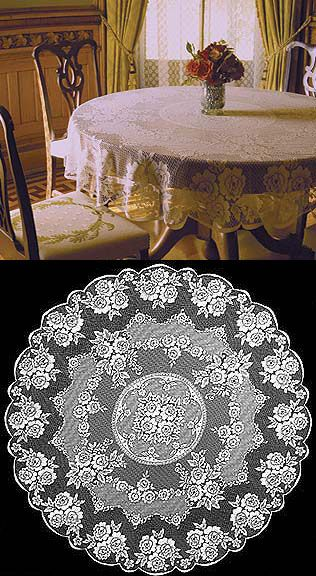 Lace Tablecloths for the Wedding, also useful if we want to convert desks in the Festivities into tables for other things